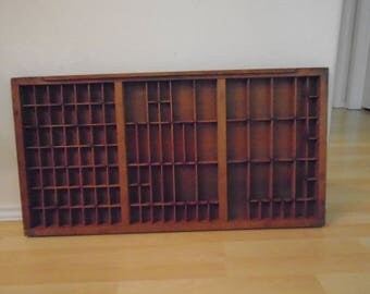 Antique Printers Tray / 103 slots / 32 1/4 by 16 3/4 inches. Excellent Patina!