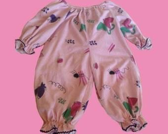 Vintage Adult Babydoll pink off-shoulder fluffy Onesie