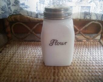 Vintage White Milk Glass Flour Shaker - Milk Glass Shaker - Vintage Flour Shaker - Art Deco Style Flour Shaker