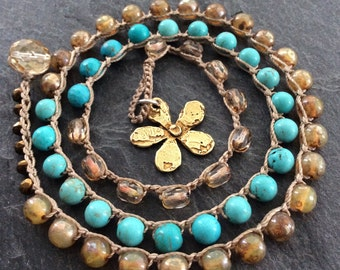 Flower crochet wrap bracelet - 'Daisy' turquoise blue and bronze, pendant charm necklace,  gift for her by mollymoojewels