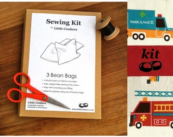 DIY Toy Kit / Beginner Sewing Kit / Toy Craft Kit / Make Your Own / Easy Sewing Pattern / Fire Engine Ambulance / Pre-cut Fabric Pieces