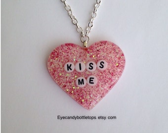 Kiss Me Resin Glitter Charm Necklace