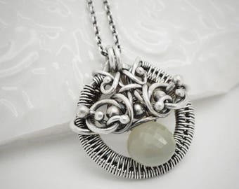 Moonstone necklace - Moonstone pendant - Necklace with moonstone - Wire wrapped moonstone