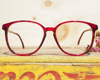 Vintage Eyeglass 1990's Over size By Rodenstock Ruby Red Color new Old Stock Very Cute