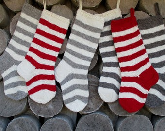 NEW 2017! Christmas Stocking Hand knit Wool Personalized Stripes purple plum dark gray green cranberry red white