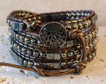 Pyrite 4mm Round & Cube Beads Leather 4-Wrap Bracelet