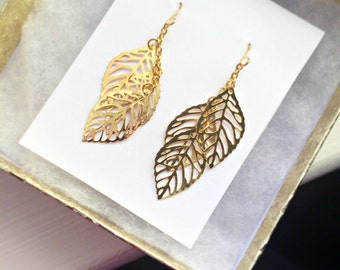 Gold Leaf Earrings - 14k Gold Filled or Plated Simple Dainty Cluster Fall Earrings