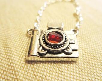 Camera necklace -Amethyst Necklace -Photographer necklace-Garnet necklace-January Birthstone-  Birthstone necklace- Art Photo