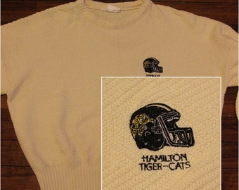 Hamilton Tigercats sweater creme beige CFL football cable knit sweater Large
