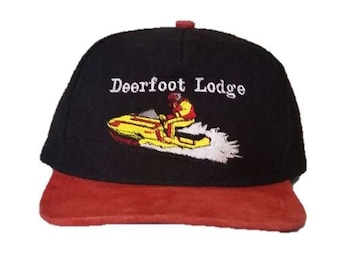 Vintage Deerfoot Lodge - Snowmobile snapback snap back style - Black and Red with snowmobiler