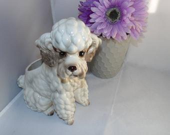 "Vintage Relpo White Poodle Sitting Dog Ceramic Planter Handpainted Kitsch #2030 8"""