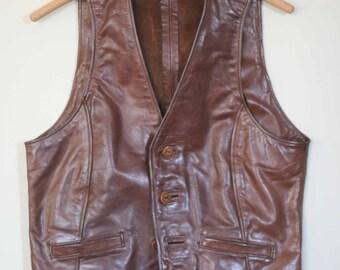 vintage brown leather men's  vest custom designed size 34