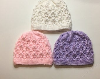 hand knit newborn hats. Ready to ship. Baby shower gift. Newborn outfit. Bring baby home
