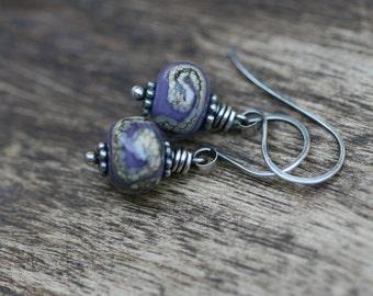 Rustic Boho Artisan Lamp work in dark lilac earrings- bohemian purple . handmade glass beads . minimalist small delicate sterling silver