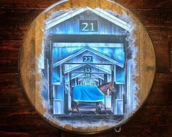 Keeneland Stables Bourbon Barrel Head Print; wall decor art, wedding hostess gift, Kentucky derby thoroughbred, bourbon barrel, triple crown