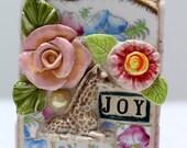 JOY, GIRAFFE, mosaic, pique assiette, mosaic art
