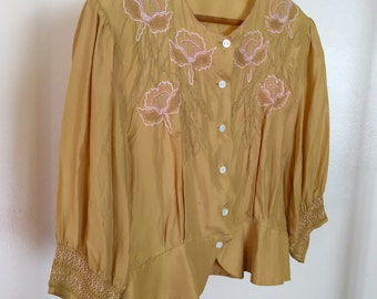 Vintage cropped silk gold embroidered button down blouse with smocking and orchids