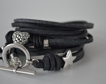 Casual leather star and heart bracelet