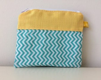 Patchwork Coin Pouch - Zipper Pouch - Chevron, Turquoise, Yellow, White, Credit Gift Card Holder, Modern Coin Pouch, Travel Pouch