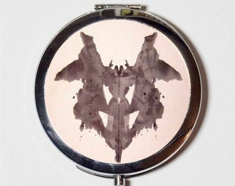 Ink Blot Compact Mirror - Inkblot Psychological Test Psychology - Make Up Pocket Mirror for Cosmetics