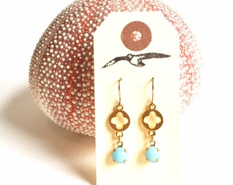 Light Blue Glass and Gold Clover Charm Earrings with Vintage Glass and Gold Tone Charms