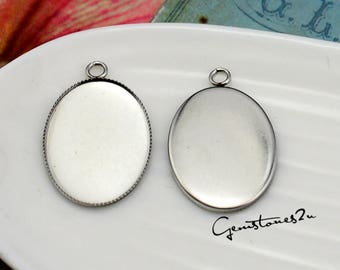 18x25mm Oval Stainless Steel Bezel Cup, Oval Bezel Pendant Trays Setting Blanks, Cabochon Setting, Oval Bezel Blanks with Tooth Edged