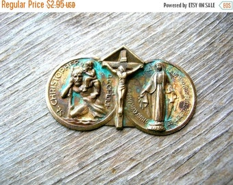 Christmas Sale Religious Medal  - Brass Findings - Brass Stamping - Patina Brass