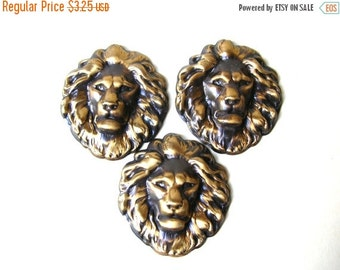Christmas Sale 3 Lion Head Stampings - Brass Lion Stamping - Brass Stamping Lot - Ox Brass