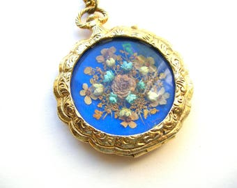 Vintage Dried Flower Pocket Watch Locket Necklace