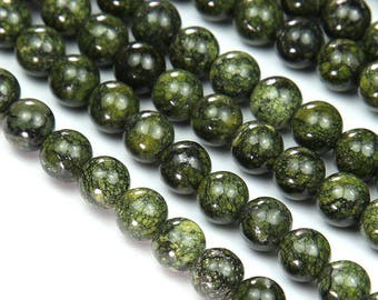 Russian Serpentine Beads, Grass Green, 8mm Round - 15 inch Strand - eGR-RSS01-8