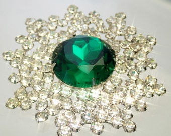 FREE Shipping Vintage Massive Green Rhinestone Cluster Starburst Brooch Pin Molded Pressed Glass Austrian Crystal Clear Stones
