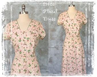 Vintage 1940s Floral Dress, Pink Dress, 1940s Day Dress, Fitted Waist, Midi Dress, Summer Dress, Pink Rosebud, Medium