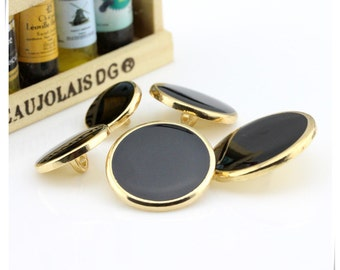 6 pcs 0.59~0.98 inch Black+Gold/Silver Edge Convex Flat Metal Shank Buttons for Fashion Suits Coats