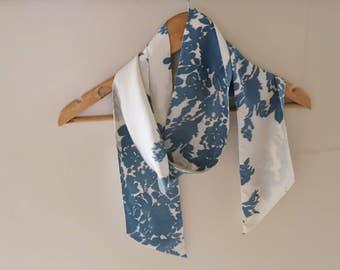 Tie end silk scarf, skinny silk scarf, long 1970s scarf, narrow silk scarf, asymmetrical scarf, vintage silk scarf, teal floral scarf