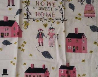 Home Sweet Home Pink White Tea Towel Vintage 1950s