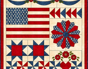 Red, White & Bloom quilt pattern PDF