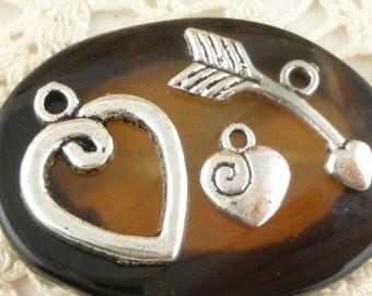 Small Three Piece Set Heart Swirl Toggle Clasp Closure, Antique Silver (4 sets) - SF39