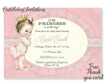 Pink Girl Baby Shower Invitation | Pink Princess Baby Girl Shower | Royal Baby Shower | Little Princess Shower Invitation Printable