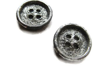 2 heavy metal buttons with texture, 7/8 inch