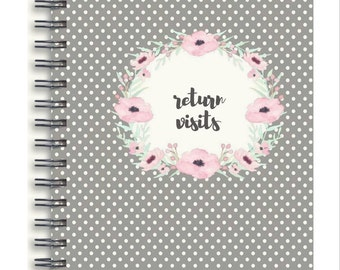 Personalized Spiral Bound Handmade Return Visit Book - gray polka dot