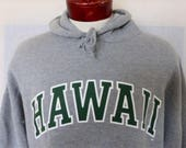 aloha UH Rainbows vintage 90's University of Hawaii heather grey fleece hoodie graphic sweatshirt forest green white curve logo pullover XXL