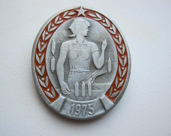 Vintage soviet USSR pin badge Year of  Woman 1975