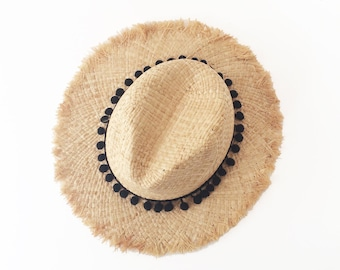 Summer straw hat with black pompom band , unraveled fedora sun hat , beach hat , straw hat , women straw hat ,fashionable straw hat ,men hat