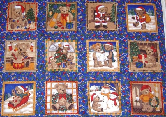 Christmas Teddy Squares Panels Cotton Quilting Fabric 27