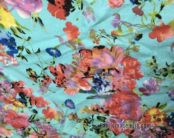Flower Linen Cotton Fabric Pink Rose On Aqua Blue White Linen Shabby Chic Fabric Flower - 1/2 yard