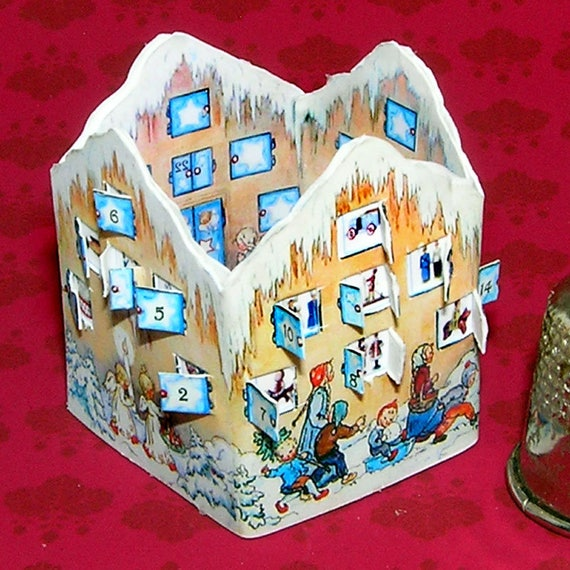 Advent calendar, DIY kit from paper in miniature for the Doll House, Doll House, dollhouse miniatures # 40029