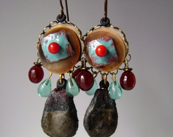 Mixed media assemblage earrings with torch fired enamel, vintage glass, seashell beads, verdigris patina, rustic bohemian, AnvilArtifacts