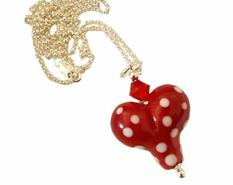 Heart Lampwork Bead Necklace with red and white polkadots, Siam Swarovski Crystal,  18 inch Sterling Silver Rolo Chain