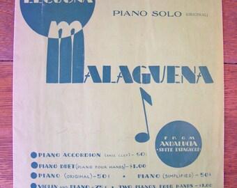 Vintage Malaguena Sheet Music Piano Solo by Ernesto Lecuona 1933.From Andalucia Suite Espagnole.Spanish Suite.30s Music.Vintage Piano Music.