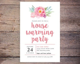Printable House Warming Invitations, Pink Flower, Floral, Flowers, Party, Print at Home New Home Invite – Logan